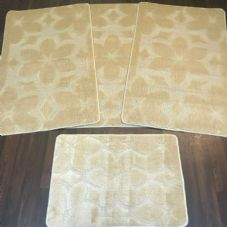 ROMANY GYPSY WASHABLES SET OF TOURER SIZES 67X110CM MATS-RUGS NEW FLOWER BEIGE